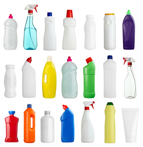 Common household chemicals and cleaners may be regualted by EPA or state environmental departments - California CUPA, Washington, Minnesota, New Jersey, Florida. white hygiene beauty sanitary bottle product; hazardous waste; environemtnal compliance; hazmat; haz mat; hazardous materials; universal waste; aerosols